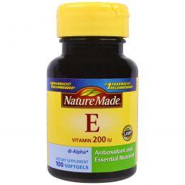 Nature Made, Витамин E, 200 МЕ, 100 жидких гелевых капсул