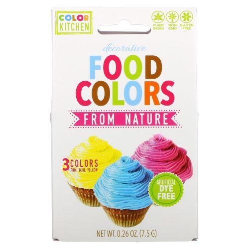 ColorKitchen, Украшение, пищевые красители, взятые у природы, 3 пакетика с красителями, 0,24 унц. (6,9 г.)