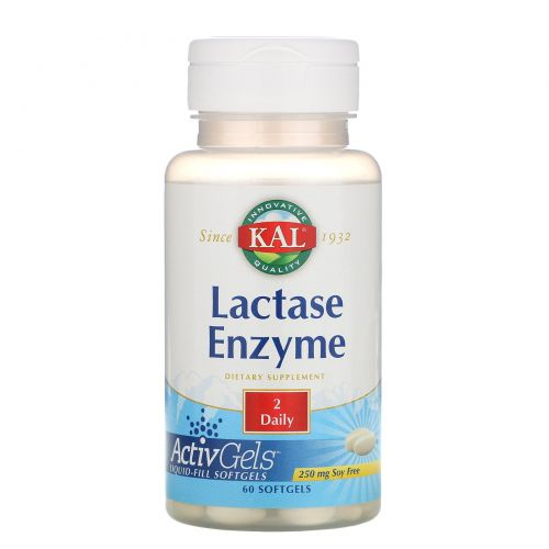 KAL, Фермент лактаза, 250 мг, 60 мягких капсул