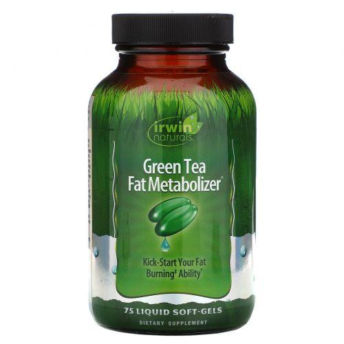 Irwin Naturals, Зеленый Чай, Метаболайзер Жиров 75 жидких гелевых капсул