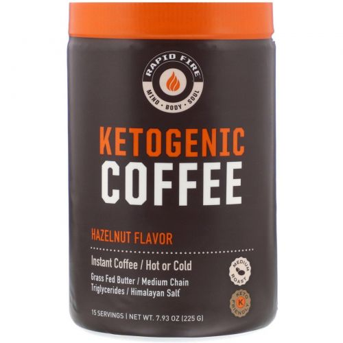 RAPIDFIRE, Ketogenic Coffee, Hazelnut Flavor, 7.93 oz (225 g)