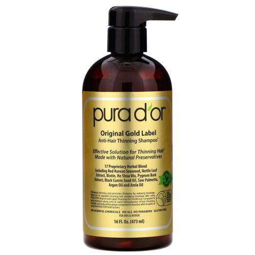 Pura D'or, Шампунь от выпадения волос, 16 жидких унций (473 мл)