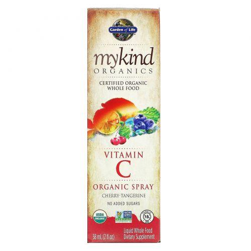 Garden of Life, mykind Organics, витамин C, органический спрей, вишня-мандарин, 2 жидких унций (58 мл)