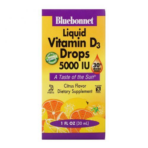 Bluebonnet Nutrition, Жидкий витамин D3, в каплях, цитрус, 5000 МЕ, 1 жидкая унция (30 мл)