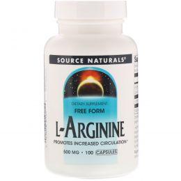 Source Naturals, L-аргинин, в свободной форме, 500 мг, 100 капсул