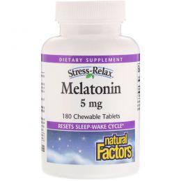 Natural Factors, Стресс-расслабление, мелатонин, 5 мг, 180 жевательных таблеток