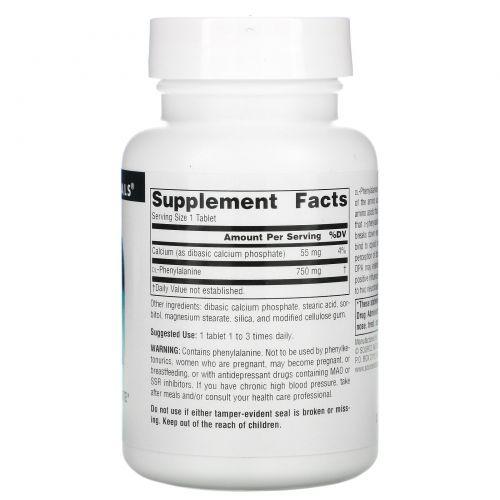 Source Naturals, Аминокислотная добавка DL-Фенилаланин (DLPA), 750 мг, 60 таблеток