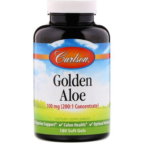 Carlson Labs, Золотое алоэ, 100 мг, 180 желатиновых капсул