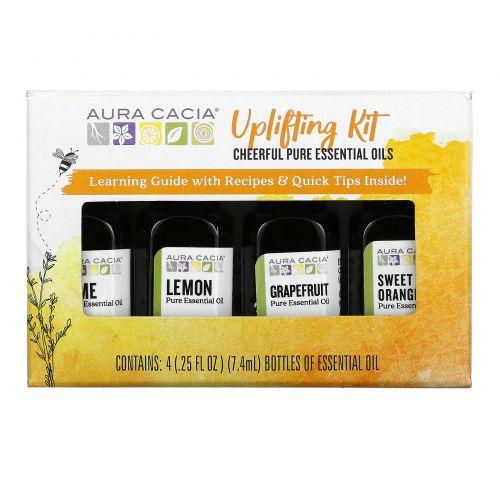 Aura Cacia, Uplifting Kit, Cheerful Pure Essential Oils , 4 Bottles, 0.25 fl oz (7.4 ml) Each
