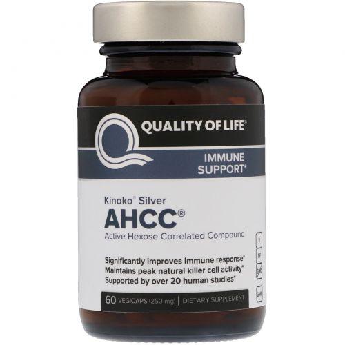 Quality of Life Labs, Kinoko Silver AHCC, поддержка иммунитета 250 мг, 60 растительных капсул