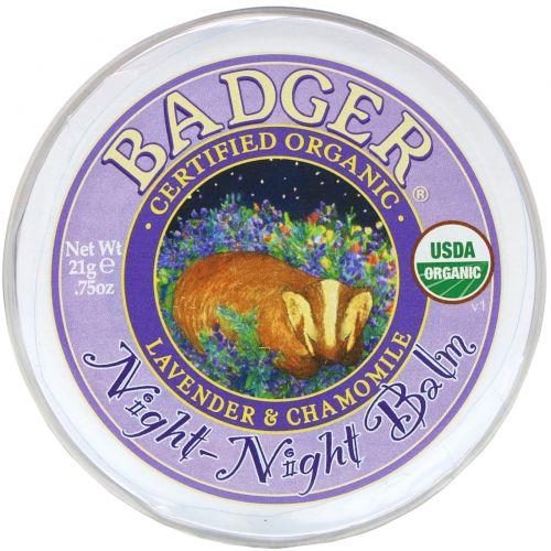 Badger Company, Ночной бальзам, с лавандой и ромашкой, 0.75 унций (21 г)