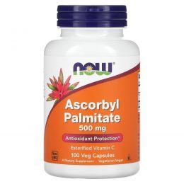 Now Foods, Аскорбил пальмитат, 500 мг, 100 капсул на растительной основе