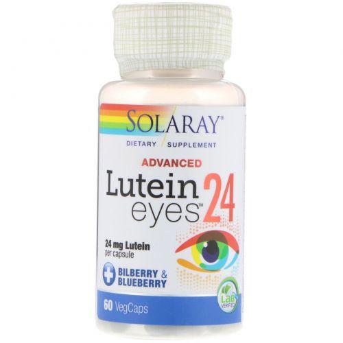 Solaray, Улучшенная формула лютеина для глаз, 24 мг, 60 вегетарианских капсул
