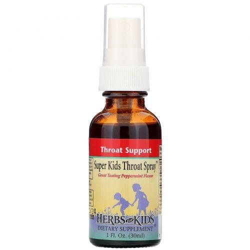 Herbs for Kids, Суперспрей от боли в горле у детей, перечная мята, 1 жидк. унц. (30 мл)