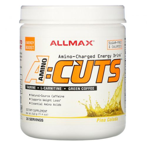 ALLMAX Nutrition, AMINOCUTS, Weight Loss BCAA+EAA, Taurine, CLA, Green Coffee, Pina Colada, 7.4 oz (210 g)