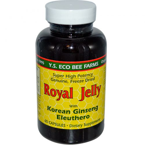 Y.S. Eco Bee Farms, Маточное молочко с корейским женьшенем и элеутерококком, 65 капсул