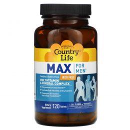 Country Life, Max for Men, мультивитаминный и минеральный комплекс для мужчин, не содержит железа, 120 таблеток