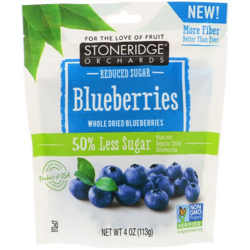 Stoneridge Orchards, Blueberries, Whole Dried Blueberries, Reduced Sugar, 4 oz (113 g)