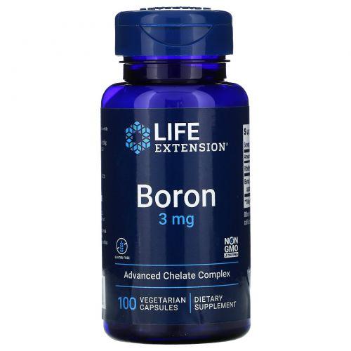 Life Extension, Boron, 3 мг, 100 вегетарианских капсул
