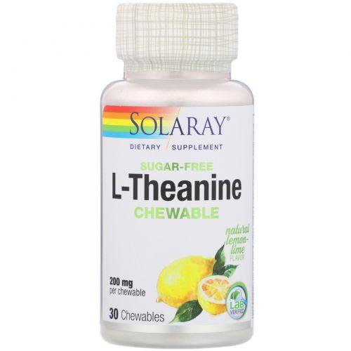 Solaray, L-Theanine, Natural Lemon-Lime Flavor, 200 mg, 30 Chewables