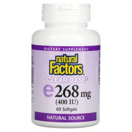 Natural Factors, E 400 МЕ, Clear Base, 60 гелевых капсул
