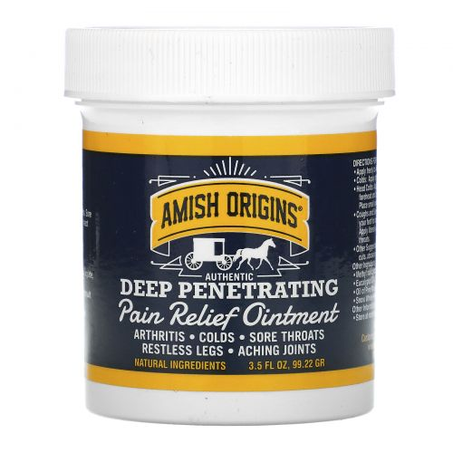 Amish Origins, Глубокое проникновение, болеутоляющая мазь, 3,5 унции (99,22 г)