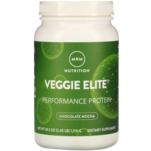 MRM, MRM, Veggie Elite, белок для повышения производительности, со вкусом шоколадного мокко, 2,4 фунта (1110 г)