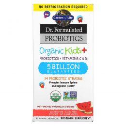 Garden of Life, Dr. Formulated Probiotics, Organic Kids+, Probiotics + Vitamins C & D, 5 Billion, Tasty Organic Watermelon, 30 Yummy Chewables
