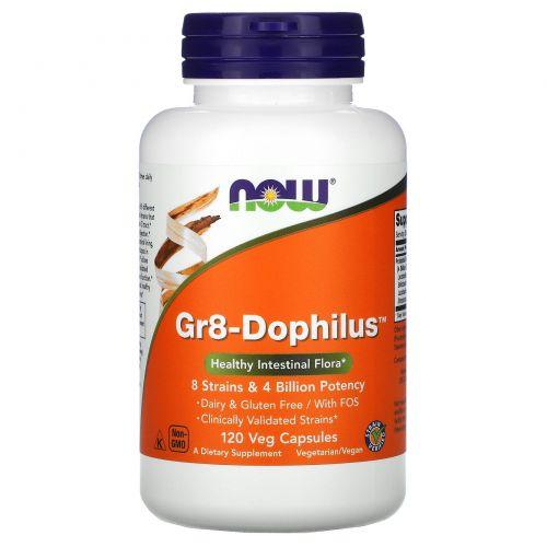 Now Foods, Gr8-дофилус, 120 капсул на растительной основе