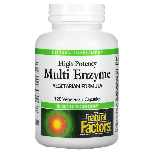 Natural Factors, Мультиферменты, сильное действие, вегетарианская формула, 120 вегетарианских капсул