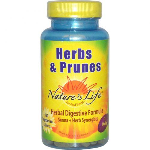 Nature's Life, «Травы и чернослив», 100 вегетарианских таблеток