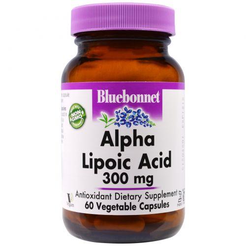 Bluebonnet Nutrition, Альфа-липоевая кислота, 300 мг, 60 капсул в растительной оболочке