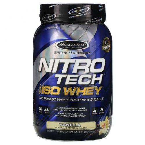 Muscletech, NitroTech, 100%-ная сыворотка ISO, ваниль, 1,81 фунта (820 г)