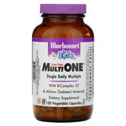 Bluebonnet Nutrition, Мультивитамины Multi One, без железа, 120 растительных капсул