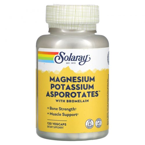 Solaray, Магний и калий Asporotates, 120 вегетарианских капсул