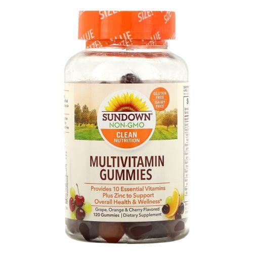 Sundown Naturals, Мультивитамин для взрослых, ароматы апельсина, вишни и винограда, не содержит глютена, 120 единиц