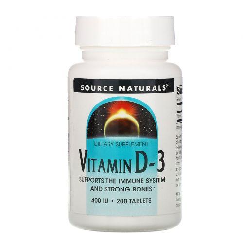 Source Naturals, Витамин D-3, 400 МЕ, 200 таблеток