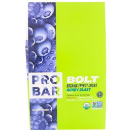 ProBar, Bolt Organic Energy Chews, Berry Blast with Caffeine, 12 Pouches, 10 Chews (2.1 oz each)