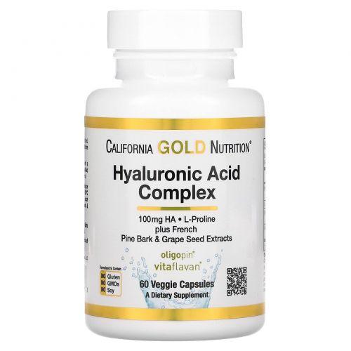 California Gold Nutrition, Гиалуроновая кислота, 60 вегетарианских капсул
