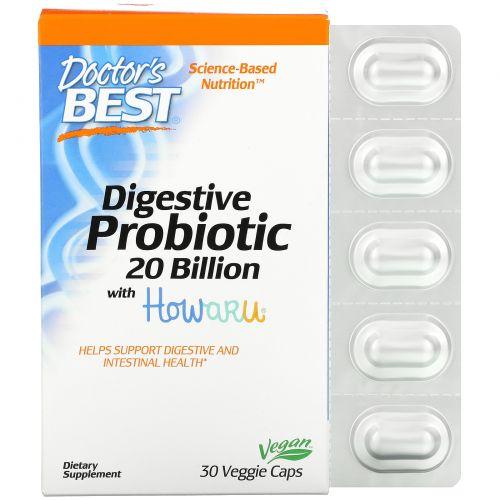 Doctor's Best, Способствующие пищеварению пробиотики с Howaru, 20 млрд КОЕ, 30 вегетарианских капсул