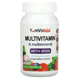 YumV's, Multivitamin & Multimineral With Iron, Grape & Berry Flavor, 120 Chewable Tablets