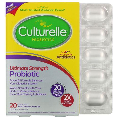 Culturelle, Дополнительная сила, здоровье системы пищеварения, ежедневная формула с пробиотиками, 20 капсул в растительной оболочке для приема 1 раз в день