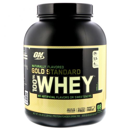 Optimum Nutrition, Gold Standard, 100% Whey, Natural, Vanilla, 4.8 lbs (2.18 kg)