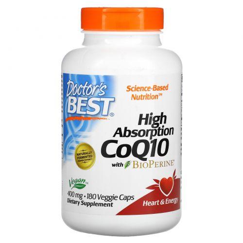 Doctor's Best, Коэнзим Q10 с высокой степенью поглощения и биоперин, 400 мг, 180 растительных капсул