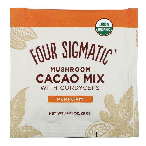 Four Sigmatic, XOCO Blue, какао-напиток с грибами кордицепс, темный и пряный, 10 пакетиков, 0,2 унции (6 г) каждый