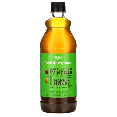 Wedderspoon, Яблочный уксус с KFactor 16, лесной мёд манука, 25 ж. унц. (750 мл)