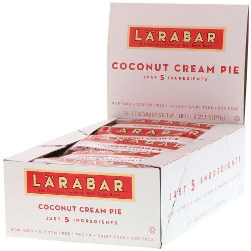 Larabar, Кокосовый сливочный пирог, 16 батончиков по 48 г