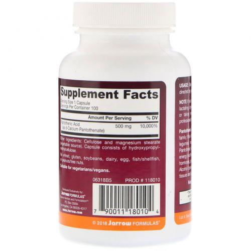 Jarrow Formulas, Пантотеновая кислота B5, 500 мг, 100 капсул