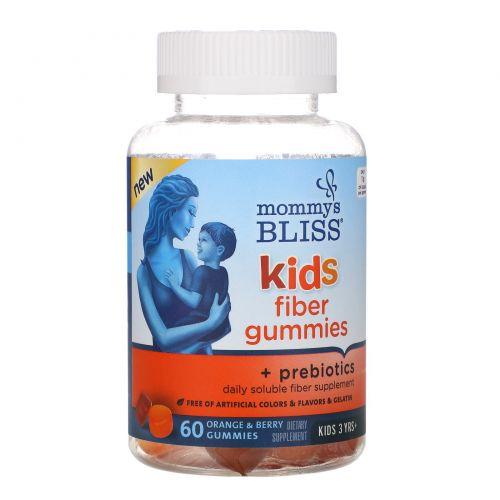 Mommy's Bliss, детские жевательные конфеты с клетчаткой и пребиотиками, для детей от 3лет, со вкусом апельсина и ягод, 60жевательных конфет