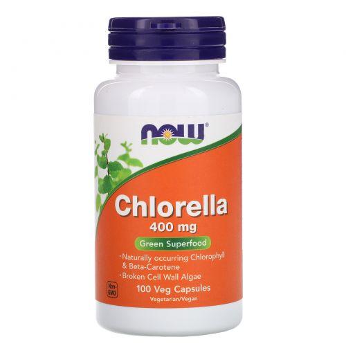 Now Foods, Хлорелла, 400 мг, 100 растительных капсул